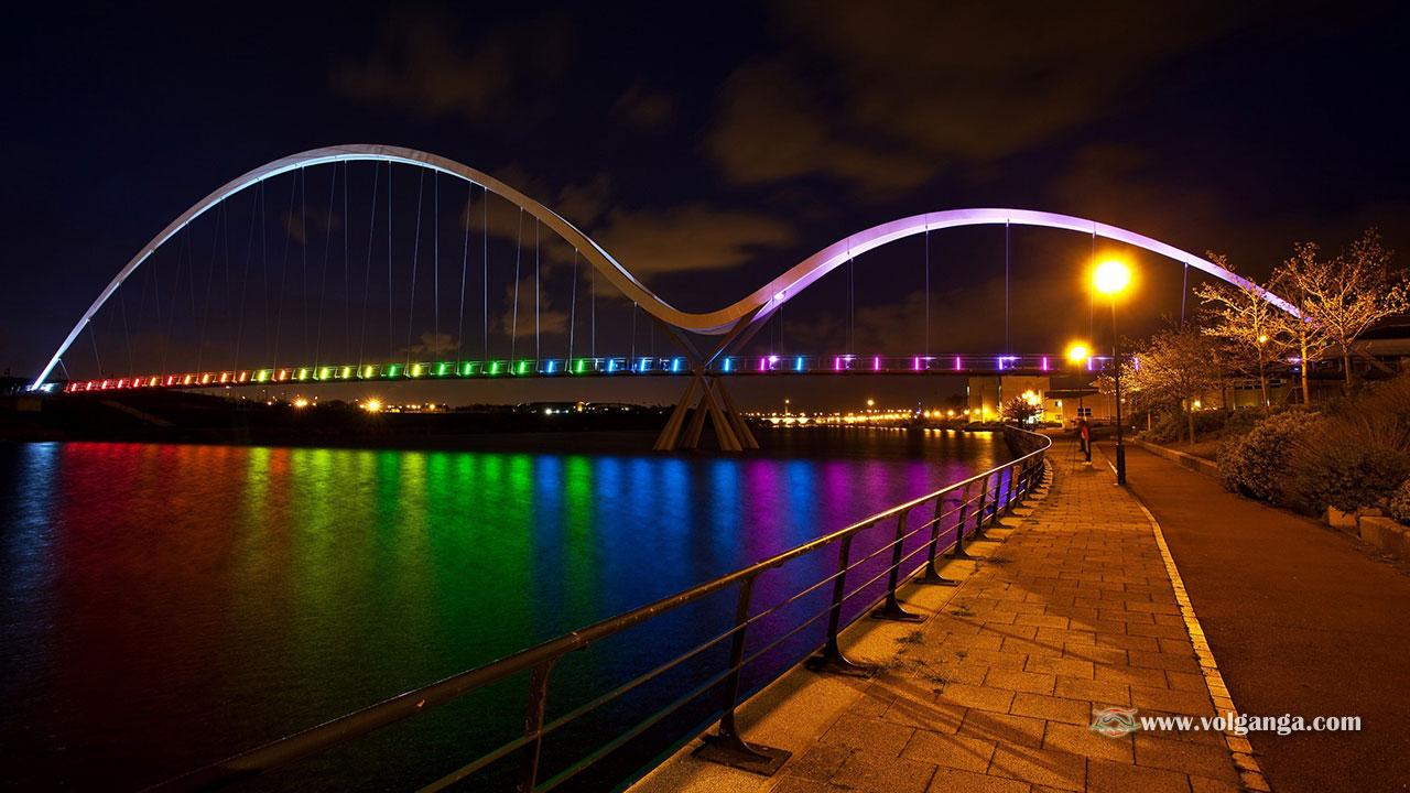 Multicolour lit up bridge