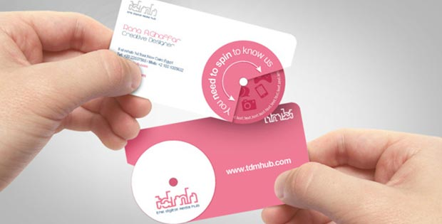 Spin-to-know-us business card