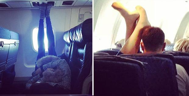 Weird sleeping passengers with raised legs