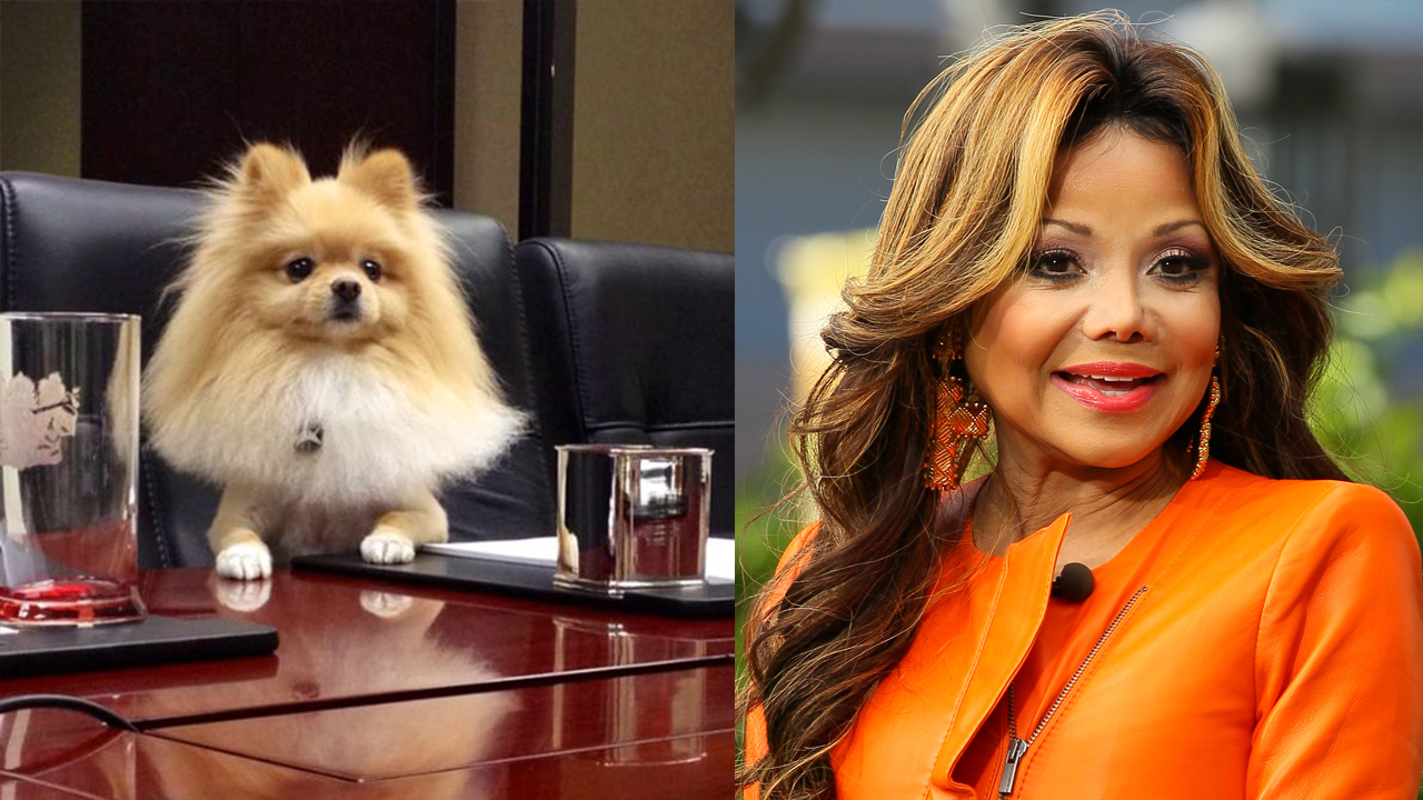 LaToya Jackson and her dog