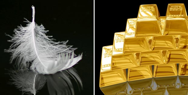 Which is heavier, a ton of feathers or a ton of gold?