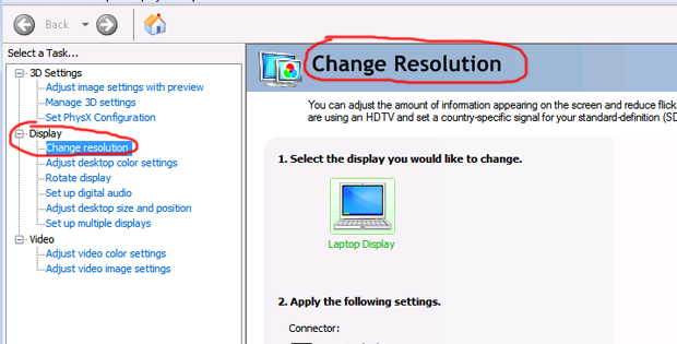 Step 3. Display > Change resolution