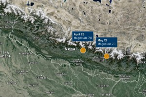 Epicenters of earthquakes in Nepal on 25th April 2015 and 12th May 2015