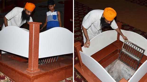 The well with holy Ganga water at the gurudwara