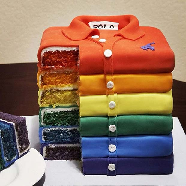 Awesome cake: T-shirt stacked