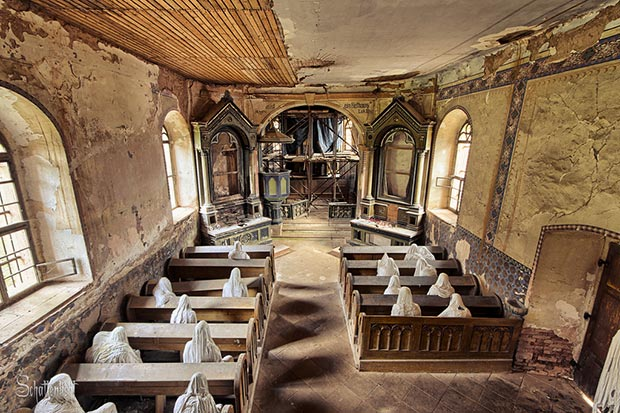 Mysterious abandoned ghost church in the Czech village of Lukova