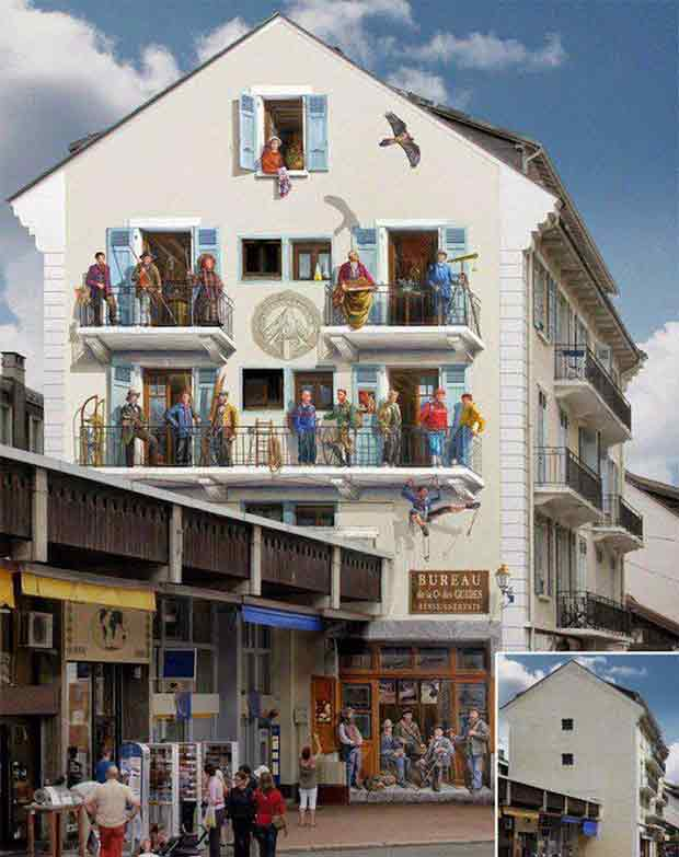 """Live"" facades by a French artist"