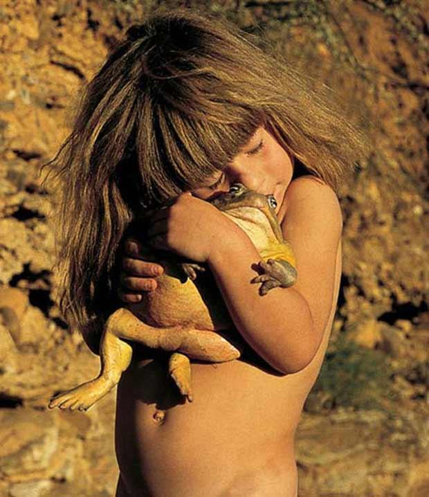 Tippi hugging a frog