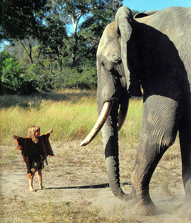 Tippi Degré and an elephant