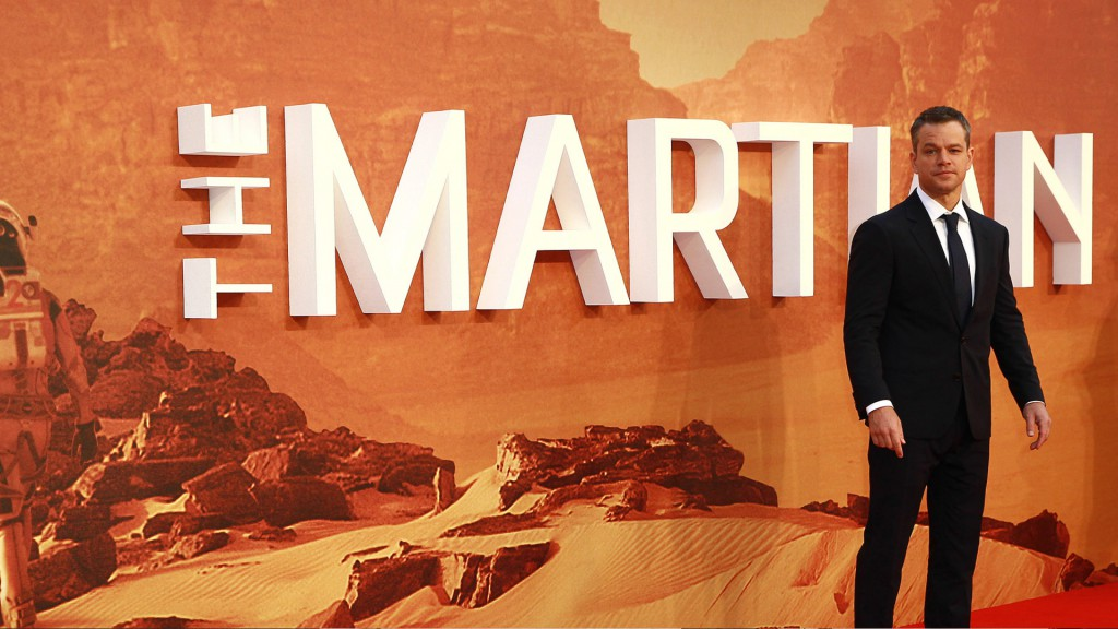 Matt Damon presenting The Martian 2015