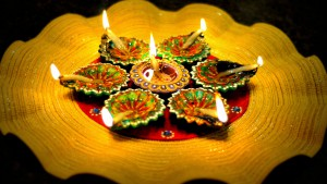 Diya light. Diwali festival 2015