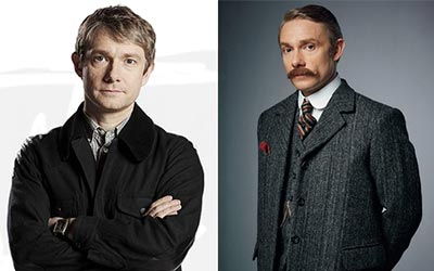 John Watson in previous episodes (left) and Dr. Watson in The Abominable Bride