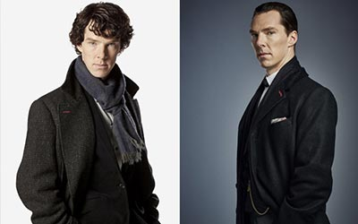 Sherlock Holmes in previous episodes (left) and Mr. Sherlock Holmes in The Abominable Bride (right)