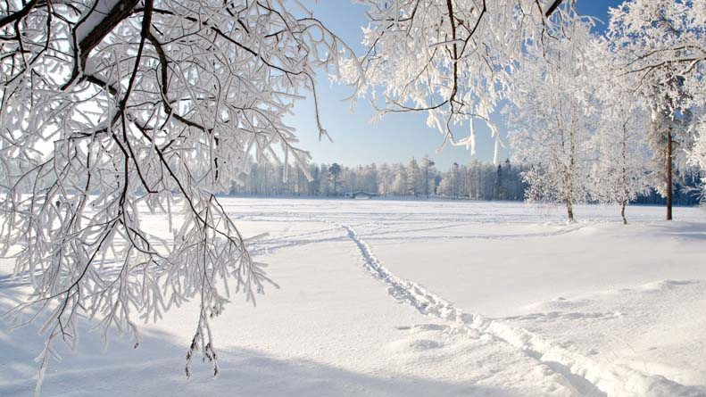 White snowy winter in Russia
