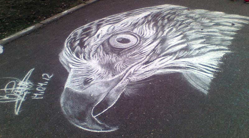 Eagle. Chalk masterpieces by Russian street artist Rustam Valeev