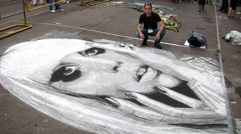 Chalk portrait by Rustam Valeev, Russian street artist