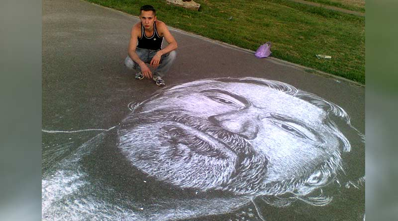Chalk portrait by Russian streat artist Rustam Valeev