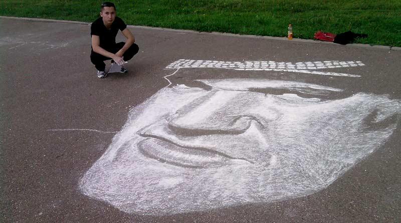 Celebrity chalk portrait by Rustam Valeyev