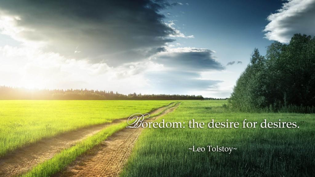 Boredom: the desire for desires. ~Leo Tolstoy quotes~