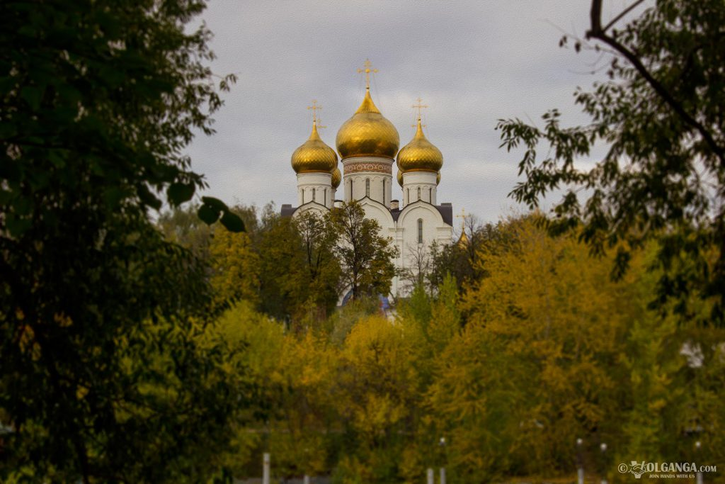 View on Ouspensky Cathedral from Damansky isle. Golden autumn in Yaroslavl 2016