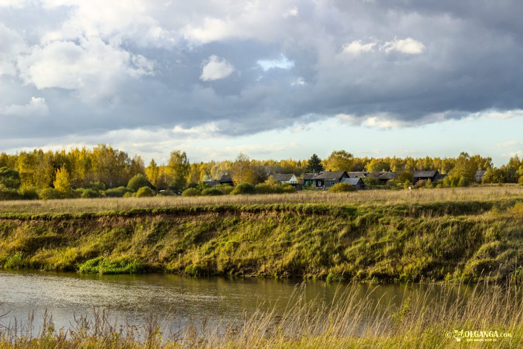 Village on the other side of the river Volga