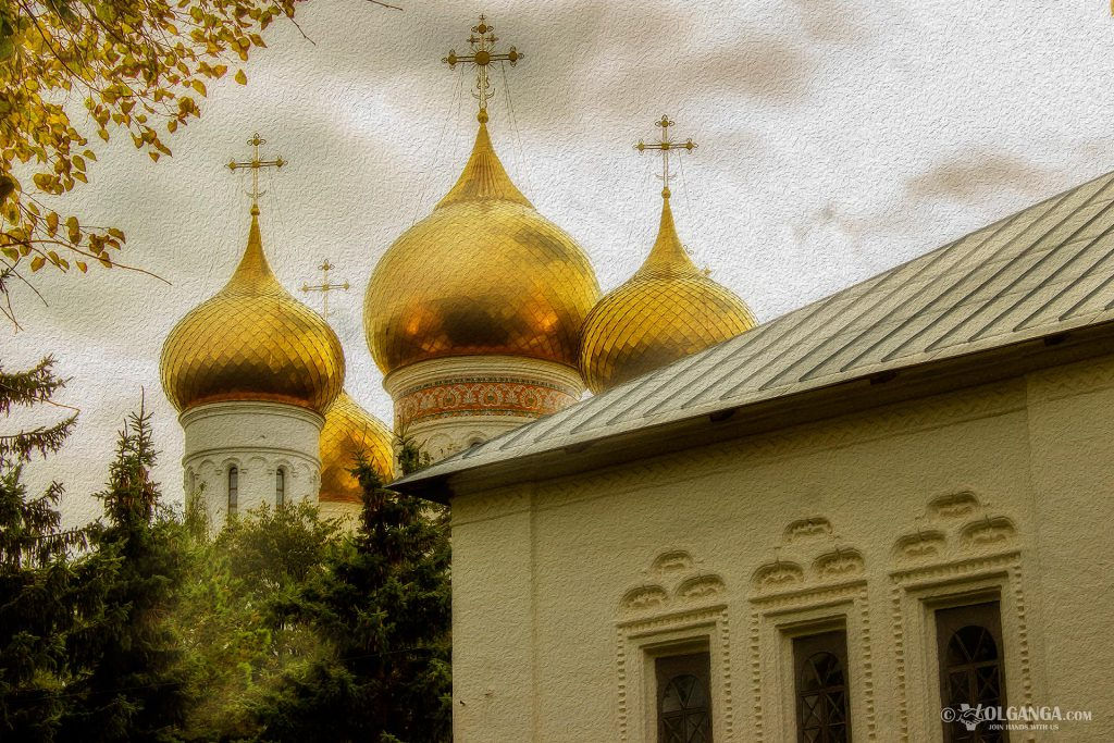 Ouspensky Cathedral domes. View from Volga river embankment. Golden autumn 2016