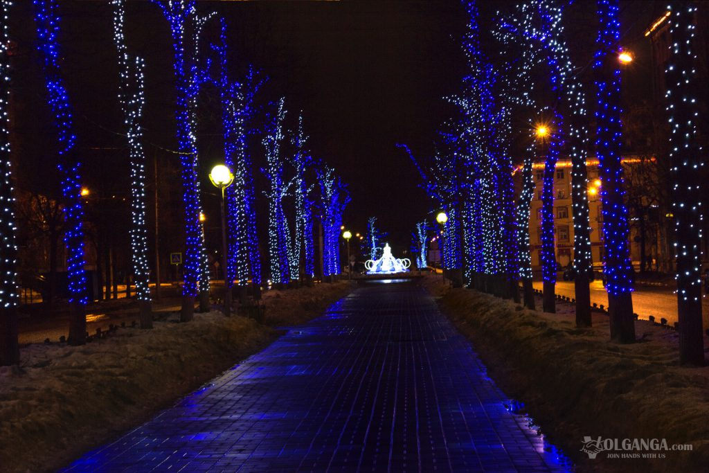 Alley to Yubileynaya Square beaitifullt decorated for the New Year 2017