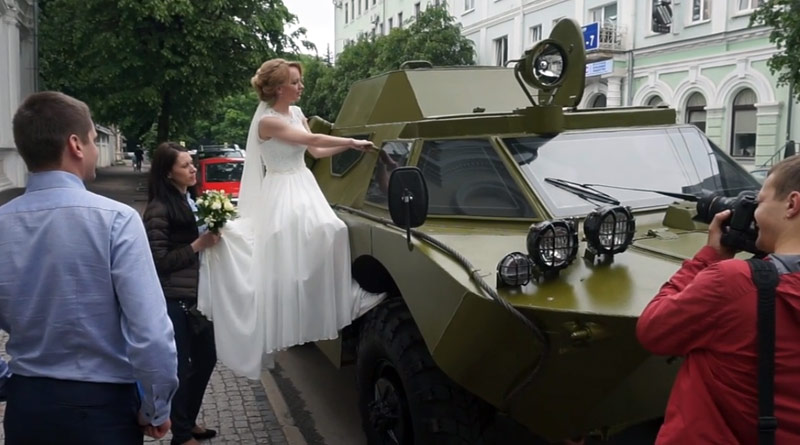 Watch: Newly married leave marriage palace in armored car