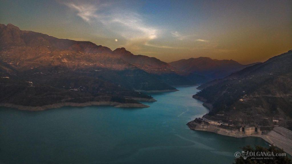 Tehri Dam during sunset
