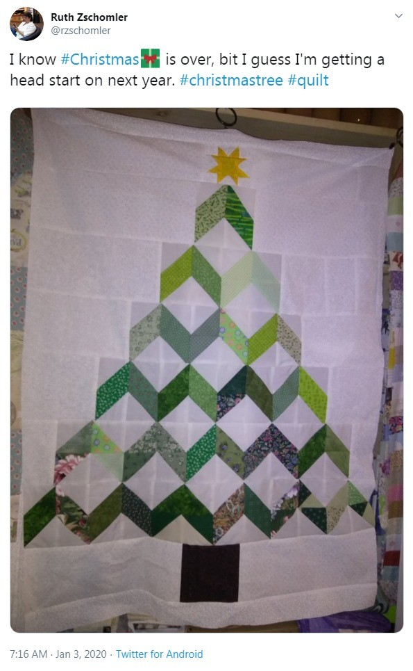 Christmas tree from a patchwork quilt