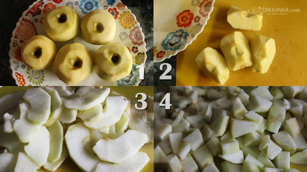 Peel and cut apples