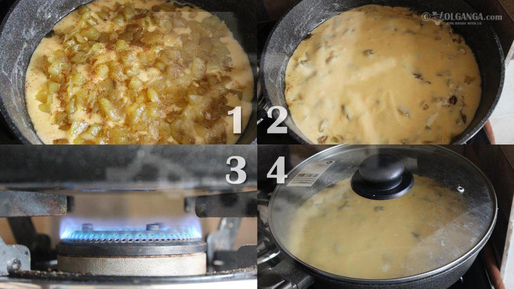 Baking apple pie in pan
