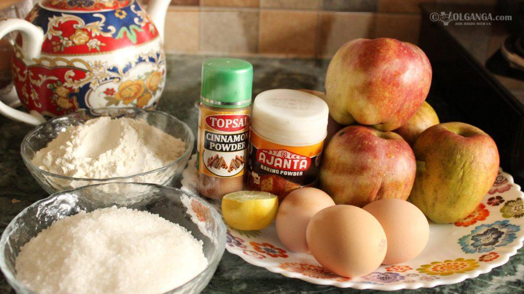 "Ingredients for apple pie ""Sharlotka"""