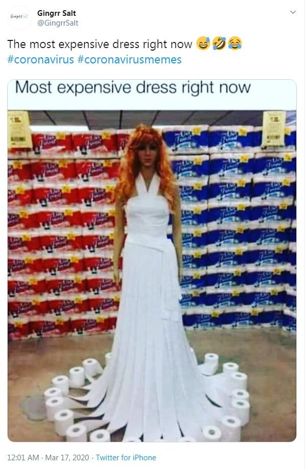 Coronavirus meme - expensive dress