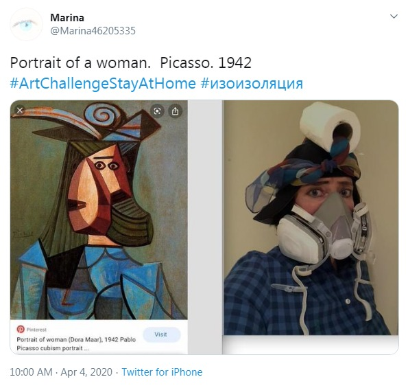 #BetweenArtandQuarantine Portrait of a woman by Picasso