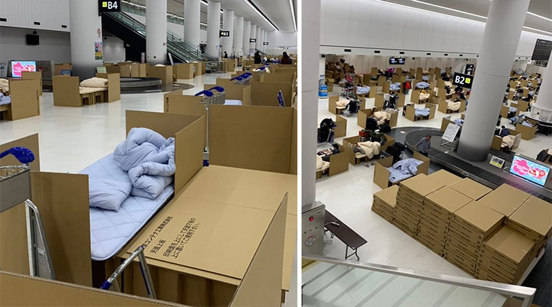 Tokyo's airport baggage claim area turned to a cardboard hotel
