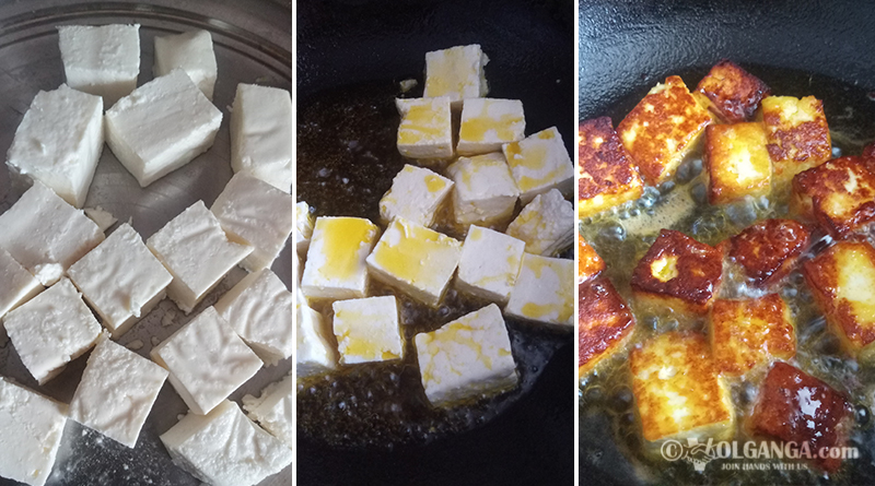 Frying paneer for chilli paneer