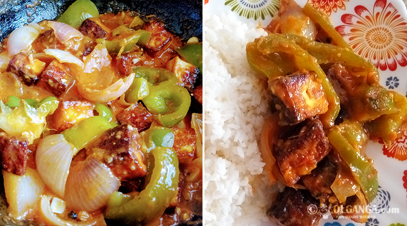 Serving chilli paneer