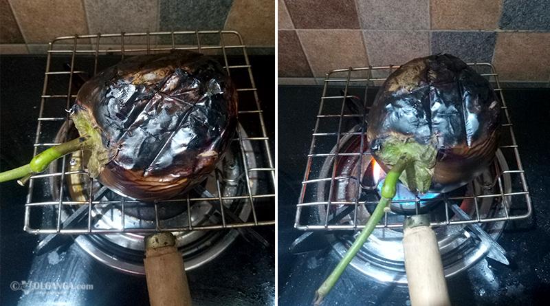 Frying brinjal
